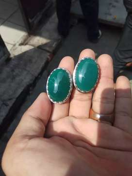 Batu green calcedony sepasang natural