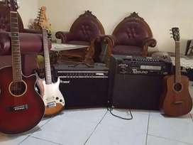 Jual Seperangkat alat musik gitar dan sound