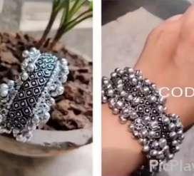 Antique jewellery oxidised silver bracelet