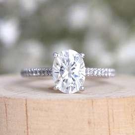 2 carat Oval Cut Moissanite Diamond Ring In 14k White Gold