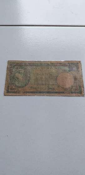 Uang RI pecahan Rp100 gambar tupai th 1957