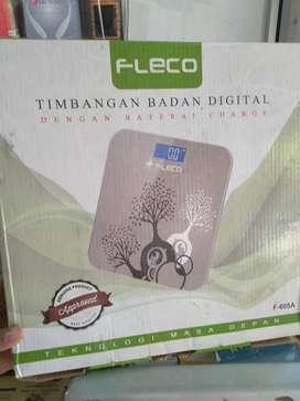 timbangan badan digital fleco kapasitas max 180kg dicas ulang