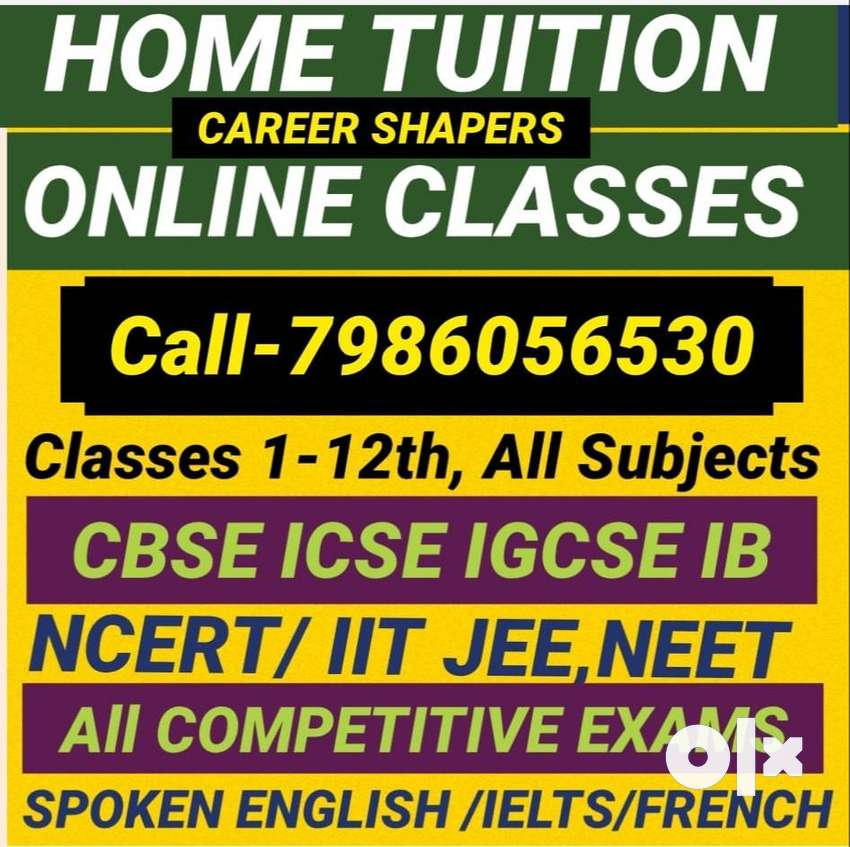 Avail 1-12th Home Tuition & Online classes,qualified tutors,free demo