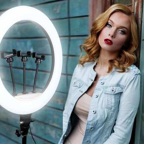 36 CM Ring light with 3 Mobile Clamps with 7 Feet stand