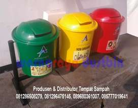 Tempat Sampah Fiberglass Bulat 3 Pilah