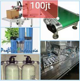 Mesin Pabrik 100jt : Air minum kemasan gelas Auto + mesin lakban