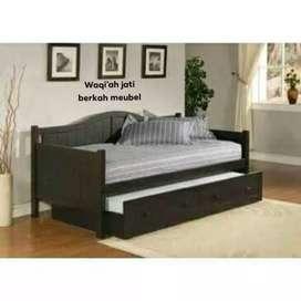 Sofa santai sorong minimalis mewah, 90x200, bahan kayu jati tua asli