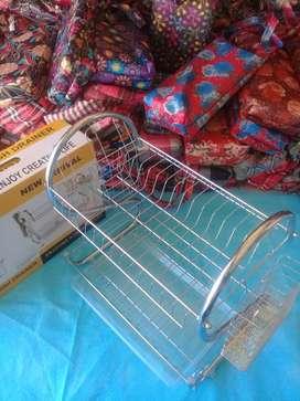 Stainless steel rak piring ada juga alat pel rak dapur wajan toples