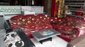 MURAH Sofa sudut merah + meja.kursi tamu busa