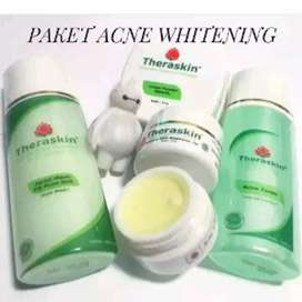 Paket Skincare Whitening Theraskin Jerawat plus bedak acne