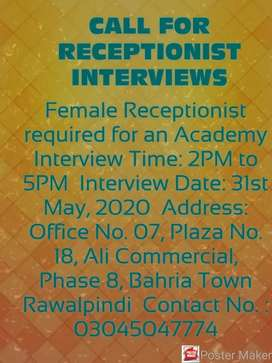 Female receptionist interviews
