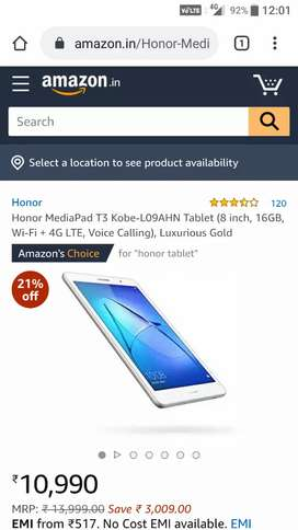 Brand New Honor MediaPad T3 Tablet(8 inch,16GB,Wi-Fi+ 4G LTE, calling)