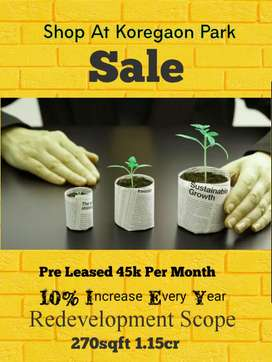 Pre Leased Shop for sale at Koregaon park
