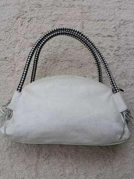 Tas import eks DUDU putih kulit asli tebal shoulder bag