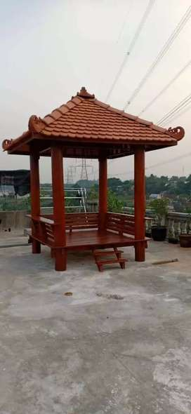 Saung Gazebo kayu kelapa 2x2m ready stok