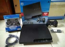 PS3 [Slim] 500GB isi 100 game tinggal main & 2 Stik sony