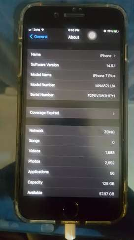 Iphone 7 plus 128 lady used 10/10 pta proved no any screth box chrgr