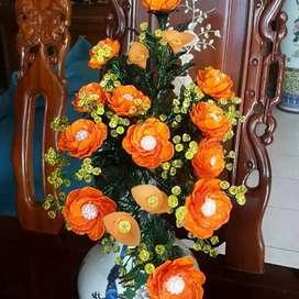 Bunga akrilik kerang orange