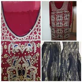 Ruby color shaifon full dress wore once .