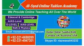 Online Tutors/Tuitions Available for( IGCSE) O levels AS/A levels IB