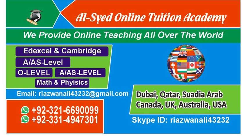 Online Tutors/Tuitions Available for( IGCSE) O levels AS/A levels IB 0