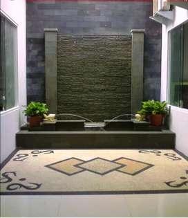 Kolam minimalis batu alam motip