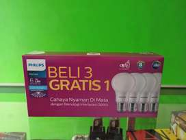 Lampu Paket Led Philips 6W Beli 3 gratis 1