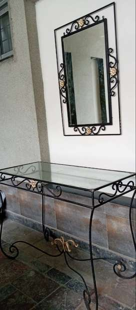 Console rack - glass with mirror