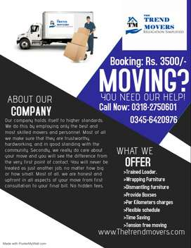 The Trend Movers (House/office Shifting)booking Rs:3500/-