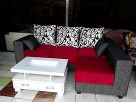Muti,,sofa super L putus+meja kaca garansi 2thn