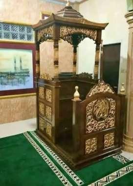 Mimbar masjid ukir bunga jati