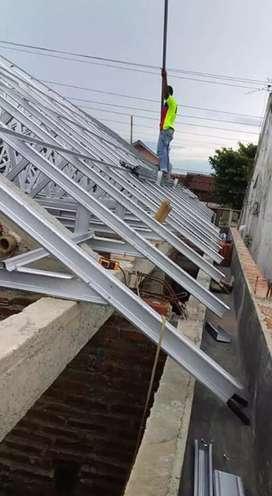Rangka atap baja ringan pasang plafon Upvc, gypsum dan renovasi rumah