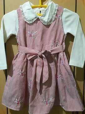 Baju setelan anak garis pink