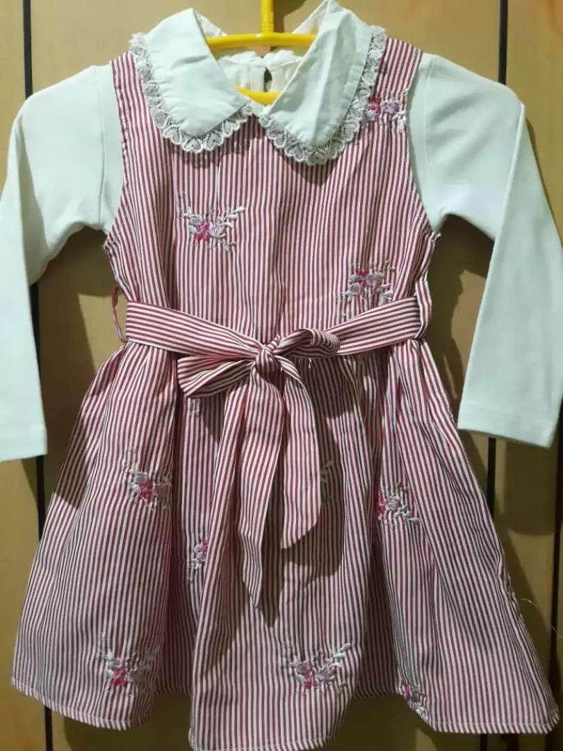 Baju setelan anak garis pink 0