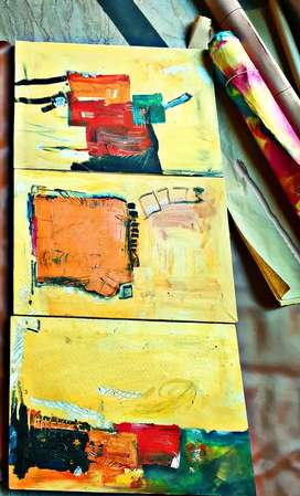 Abstract 3 panelled painting