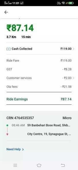 Driver for ola needed in sharing basis from howrah ac market area only