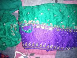 Green saree with velvate blouse