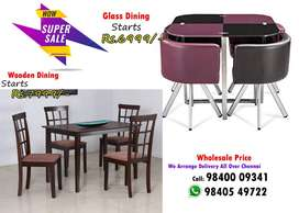 deal Wooden / Glass Dining Table and Dining set 4 / 6 Chairs Seater