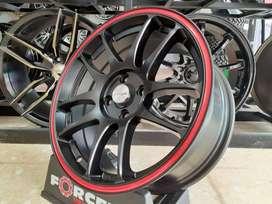 Velg AMW6094 CR-KAI R16x7.0 H4x100 ET.38 73.1 Satin Black+Red Strip2 A