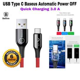 Kabel Charger USB Type C BASEUS ORIGINAL - Automatic Power Off - READY