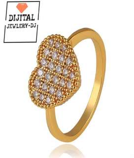 French Heart Shaped Ring (24K Gold Plated)
