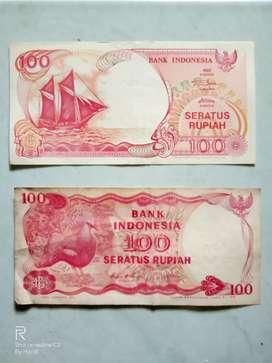 2 uang kertas pecahan 100 rupiah tahun 1992 dan tahun 1984