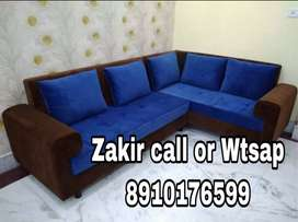 Blue and Brown combination L shape Sofa