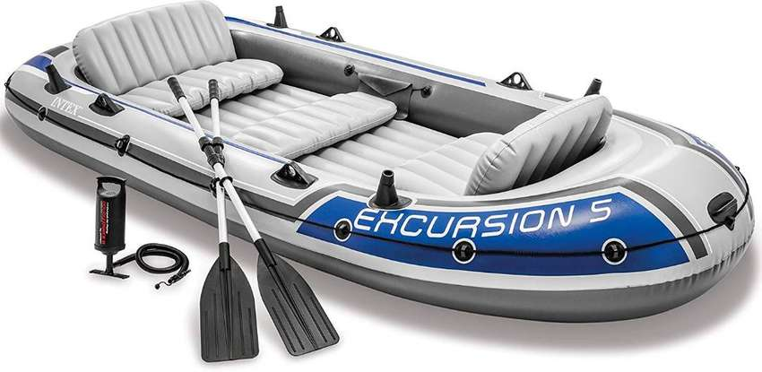 Intex Excursion 5, 5-Person Inflatable Boat Set with Aluminum Oars and 0
