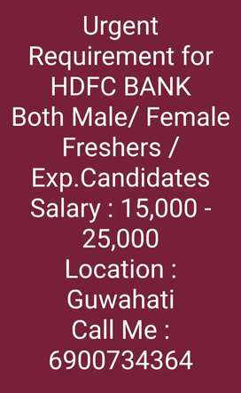 Urgent Requirement for HDFC Bank