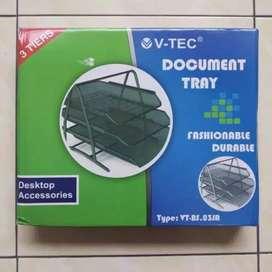 Rak jaring susun besi 3 tingkat dokumen tray keren