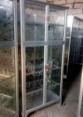 Rak / Lemari Dapur 4 Pintu Almini Putih Kaca Es 75-165