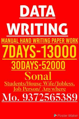 Good writing job Immediately Direct Joining weekly salary 13000