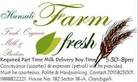 Part Time Milk Delivery Boy reqd. Chd-Mohali. 5:30-8pm
