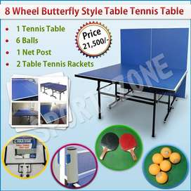 8 Wheel Butterfly Style Table Tennis Table